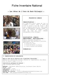 Fiche Inventaire National Fêtes de l'Ours
